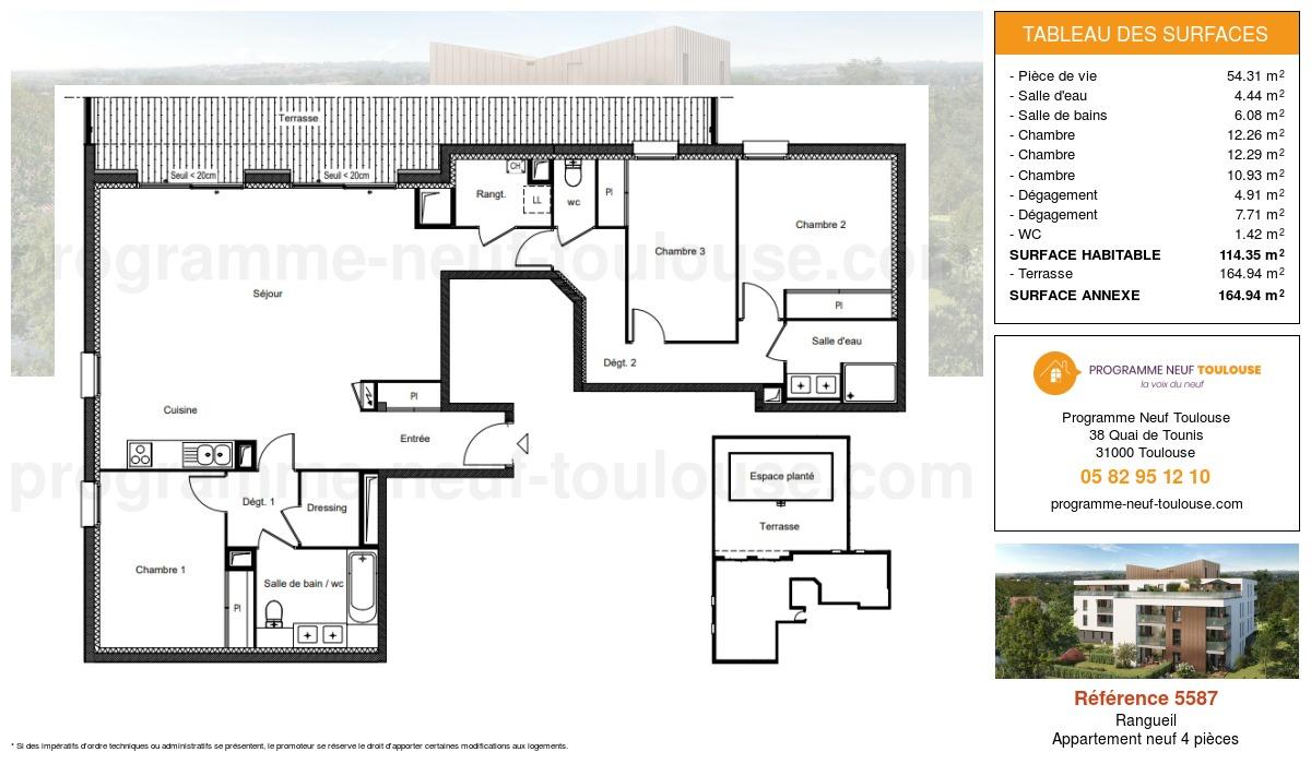 Plan pour un Appartement neuf de  114.35m² à Rangueil