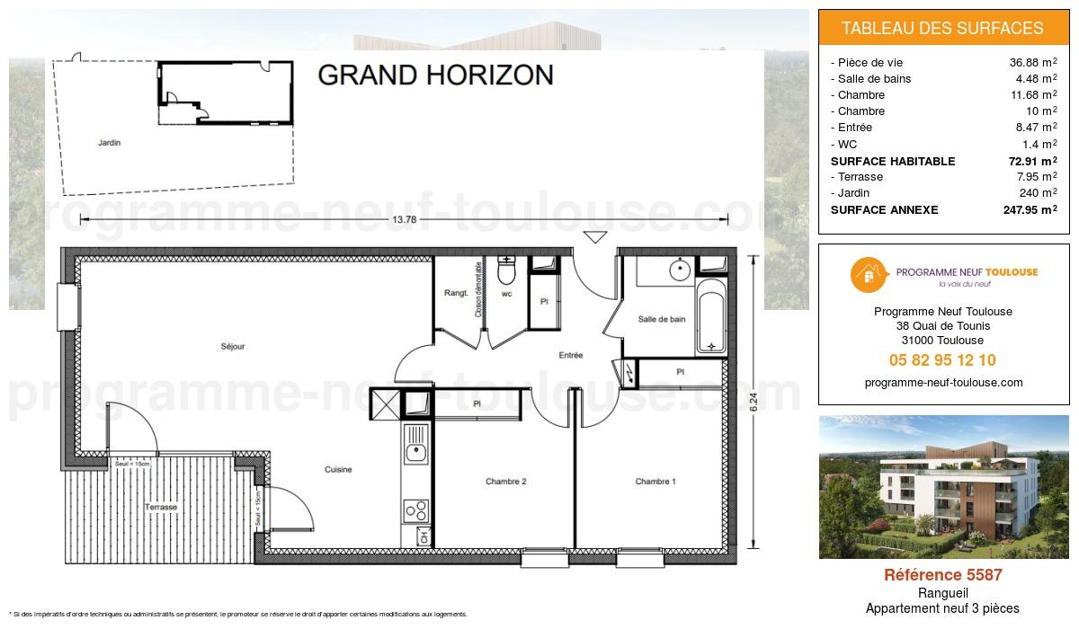 Plan pour un Appartement neuf de  72.91m² à Rangueil