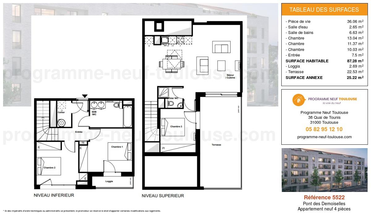 Plan pour un Appartement neuf de  87.28m² à Pont des Demoiselles
