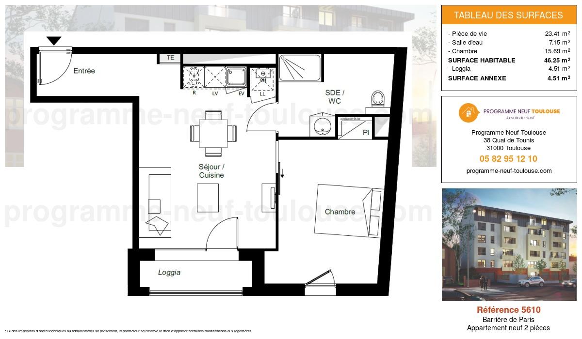 Plan pour un Appartement neuf de  46.25m² à Barrière de Paris