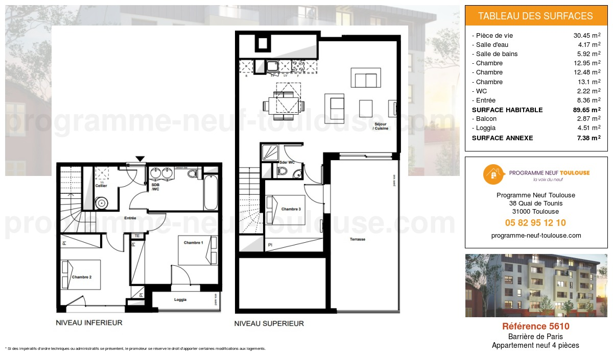 Plan pour un Appartement neuf de  89.65m² à Barrière de Paris
