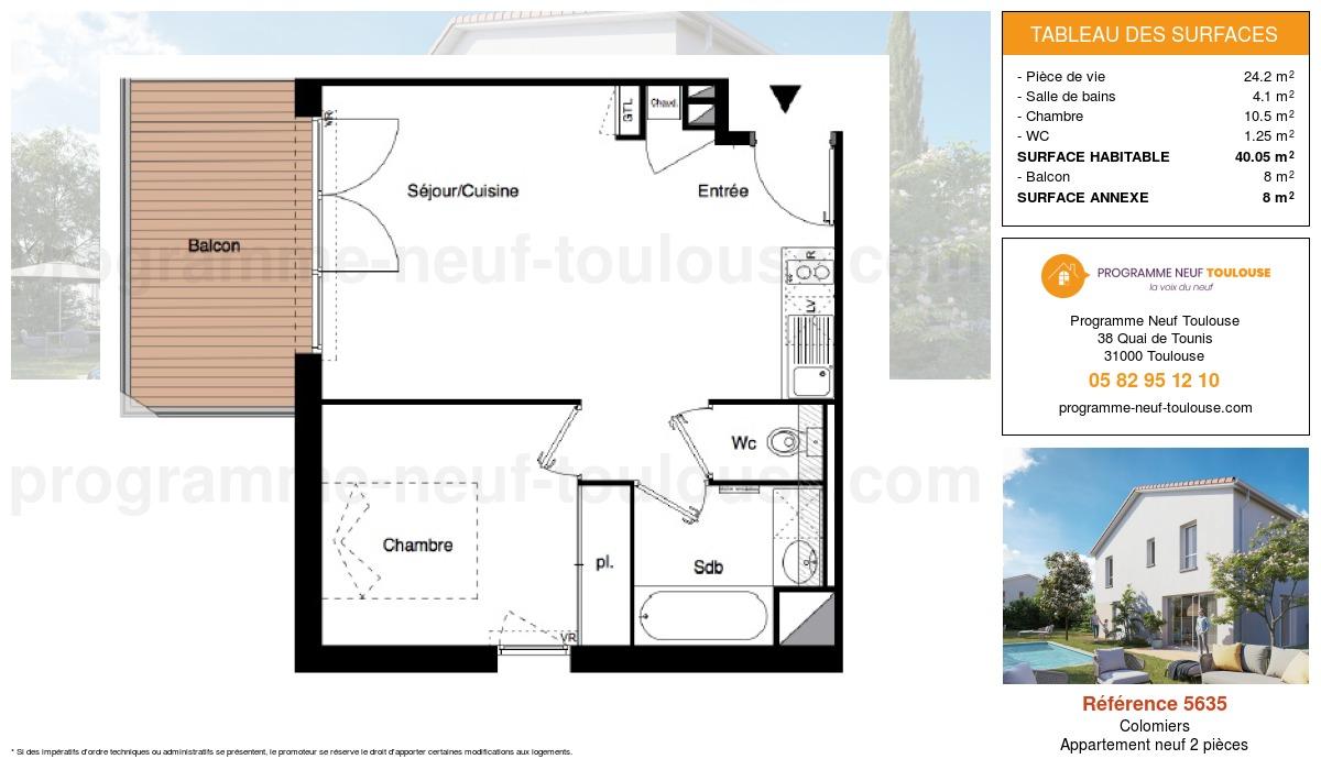 Plan pour un Appartement neuf de  40m² à Colomiers
