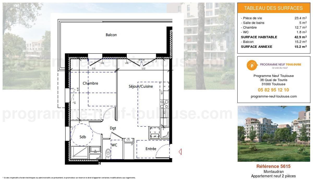 Plan pour un Appartement neuf de  42.9m² à Montaudran