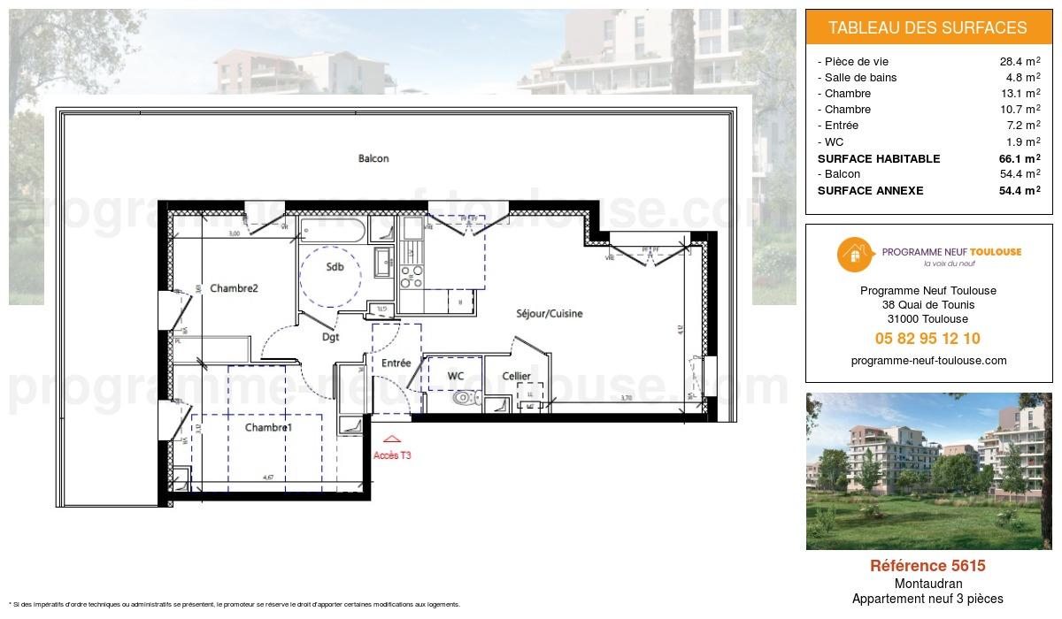 Plan pour un Appartement neuf de  66.1m² à Montaudran