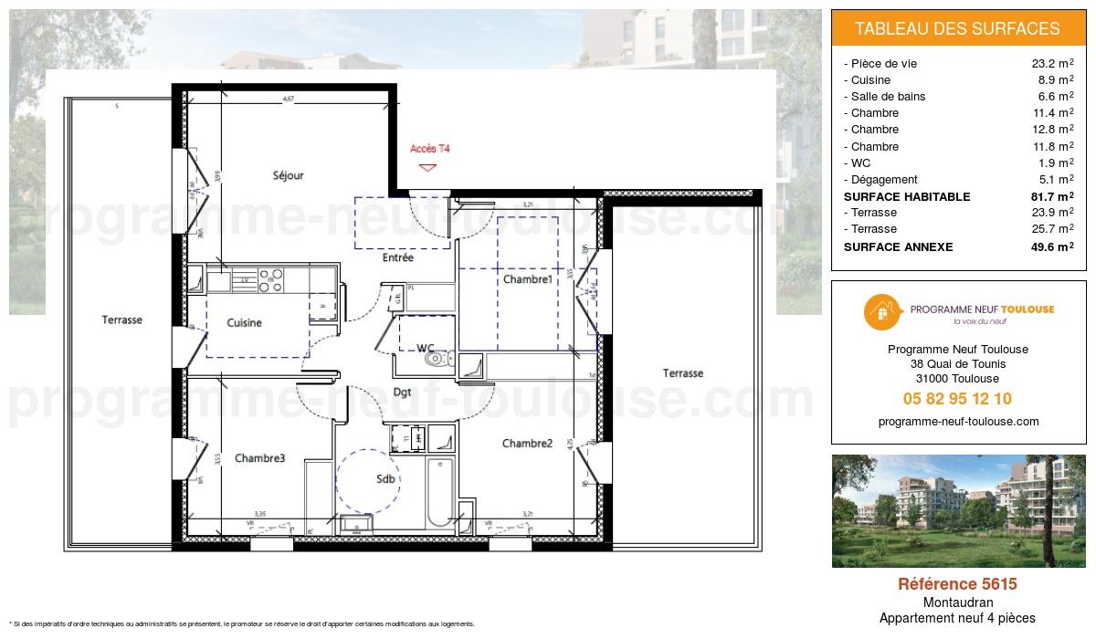 Plan pour un Appartement neuf de  81.7m² à Montaudran