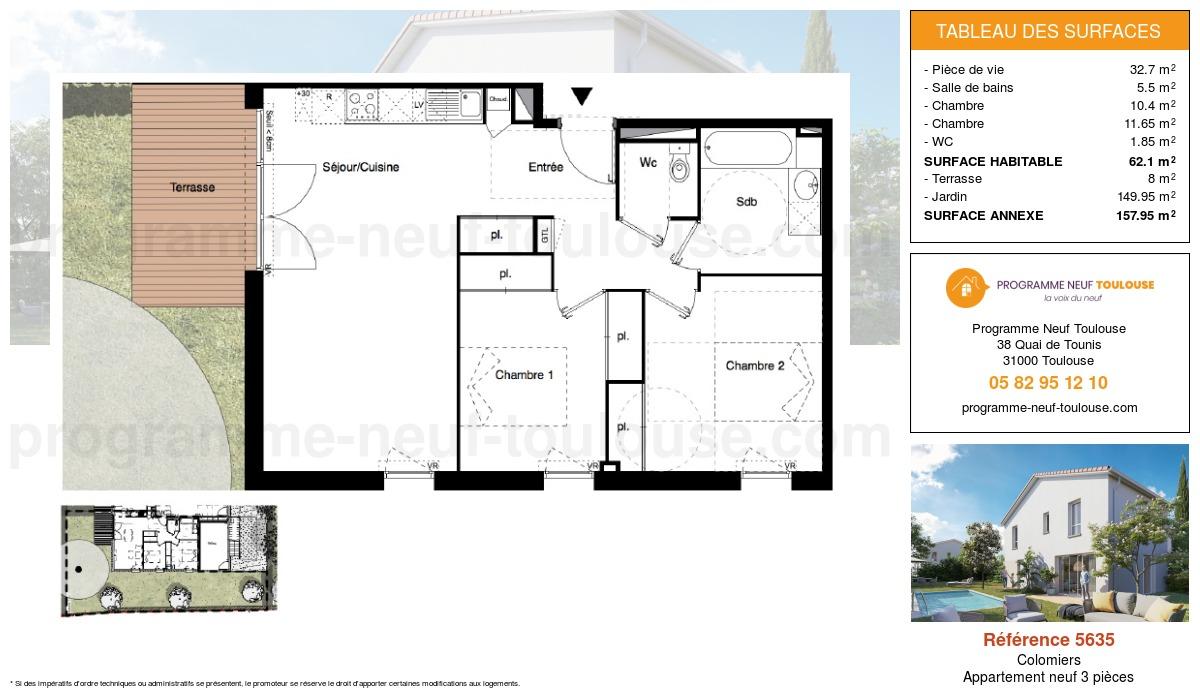 Plan pour un Appartement neuf de  62.1m² à Colomiers