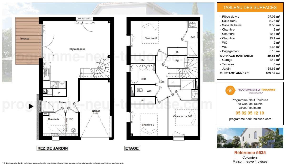 Plan pour un Maison neuve de  89.6m² à Colomiers