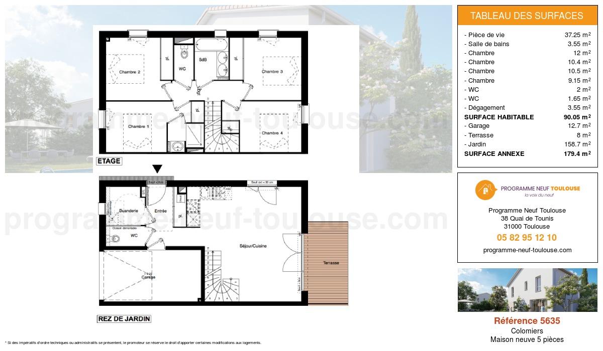 Plan pour un Maison neuve de  90.05m² à Colomiers