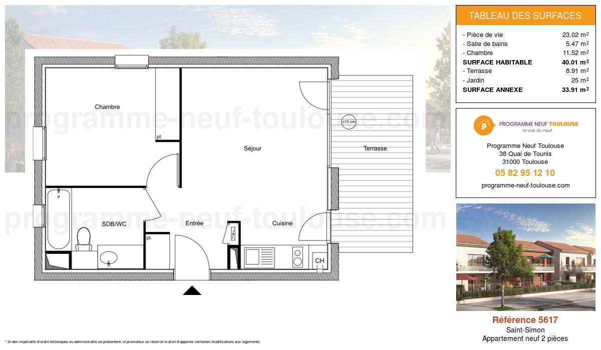Plan pour un Appartement neuf de  40.01m² à Saint-Simon