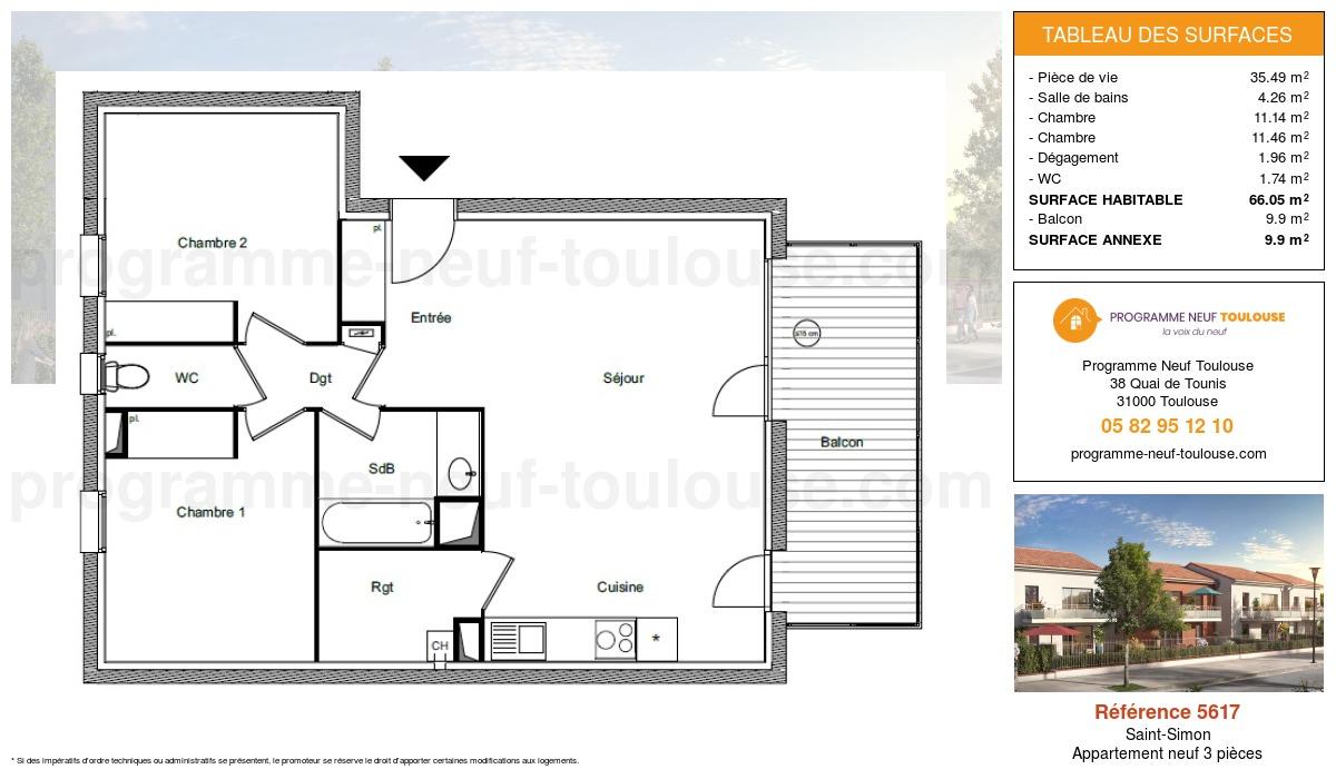 Plan pour un Appartement neuf de  66.05m² à Saint-Simon