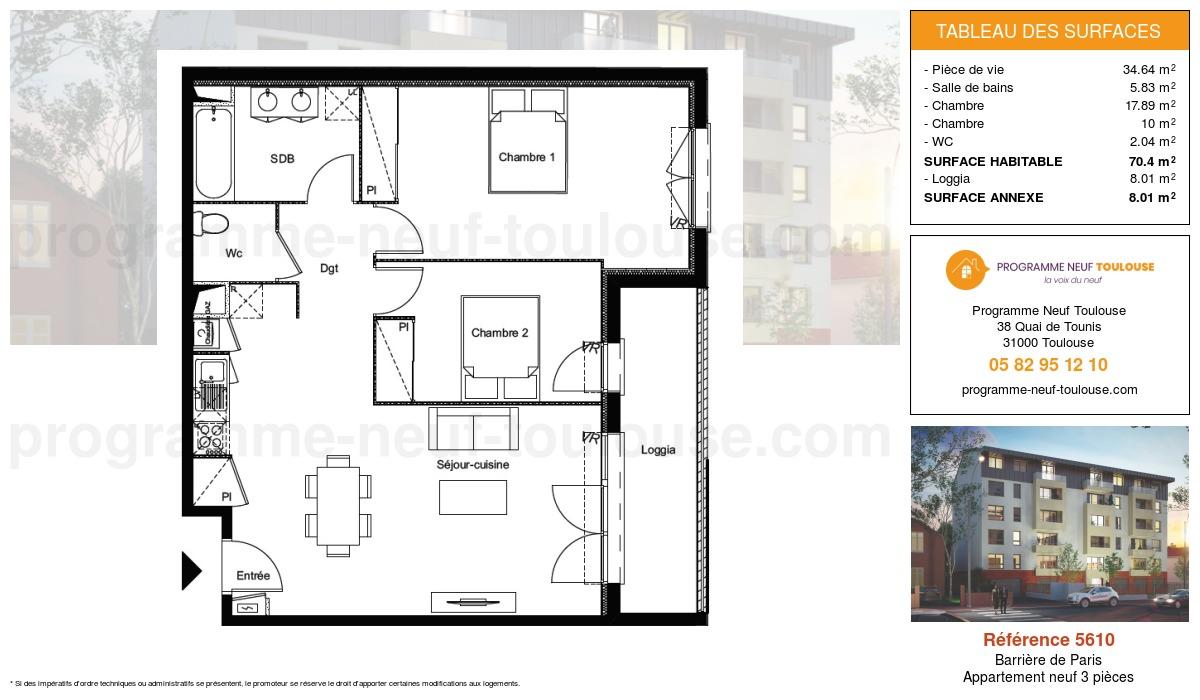 Plan pour un Appartement neuf de  70.4m² à Barrière de Paris