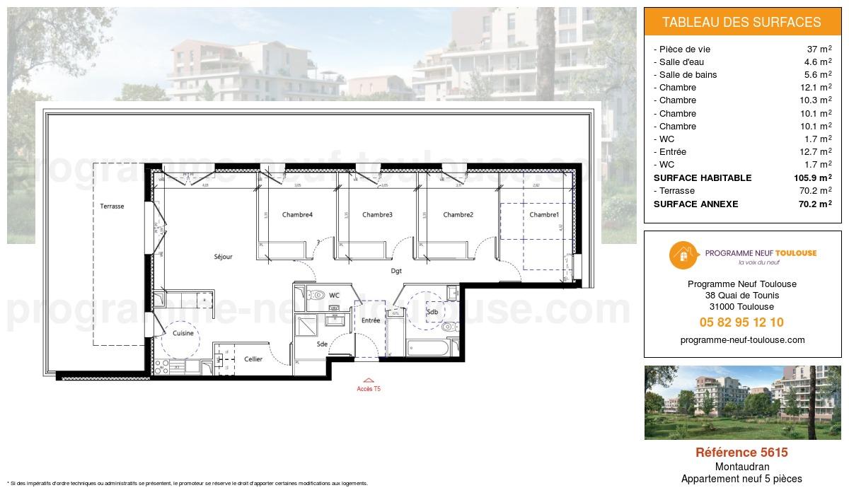 Plan pour un Appartement neuf de  104.2m² à Montaudran