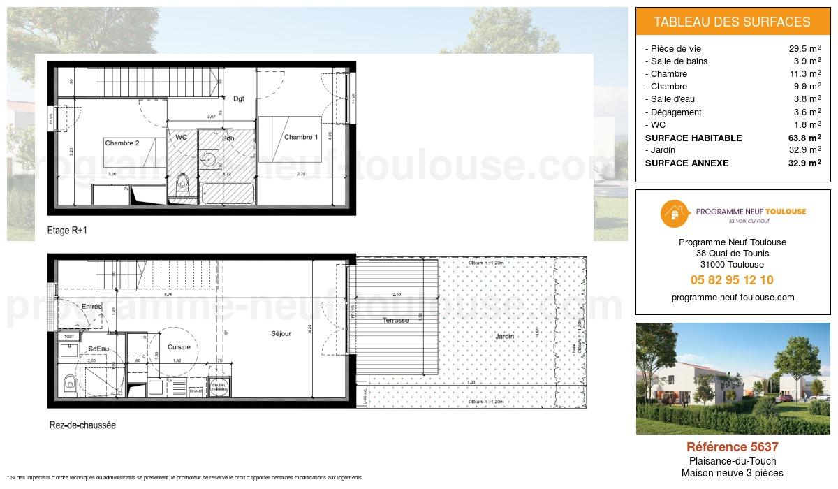 Plan pour un Maison neuve de  63.8m² à Plaisance-du-Touch