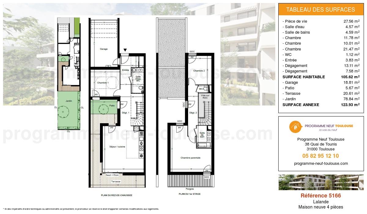 Plan pour un Maison neuve de  105.56m² à Lalande