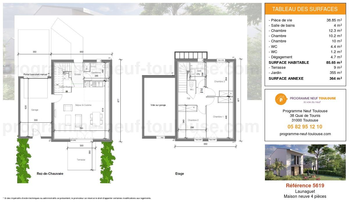 Plan pour un Maison neuve de  85m² à Launaguet