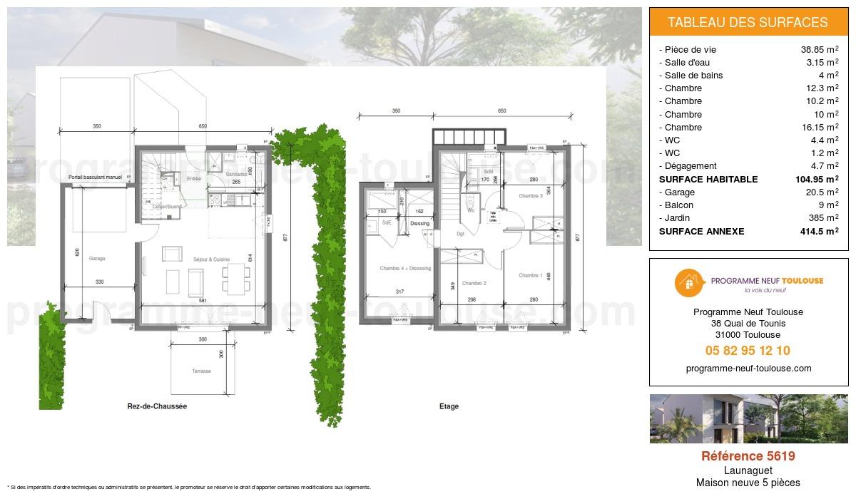 Plan pour un Maison neuve de  104.95m² à Launaguet