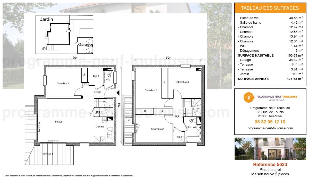 Plan pour un Maison neuve de  103.57m² à Pins-Justaret