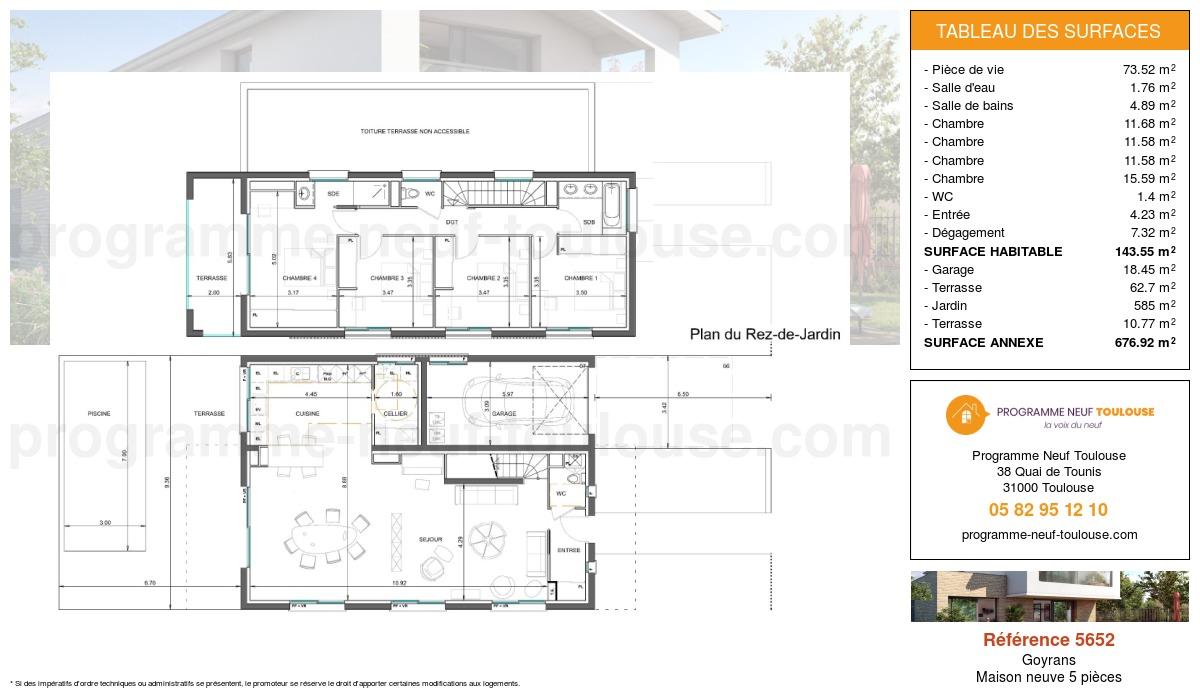 Plan pour un Maison neuve de  146.01m² à Goyrans