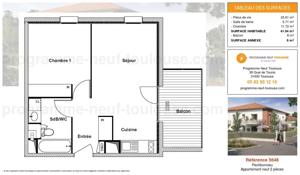 Plan pour un Appartement neuf de  41.04m² à Pechbonnieu