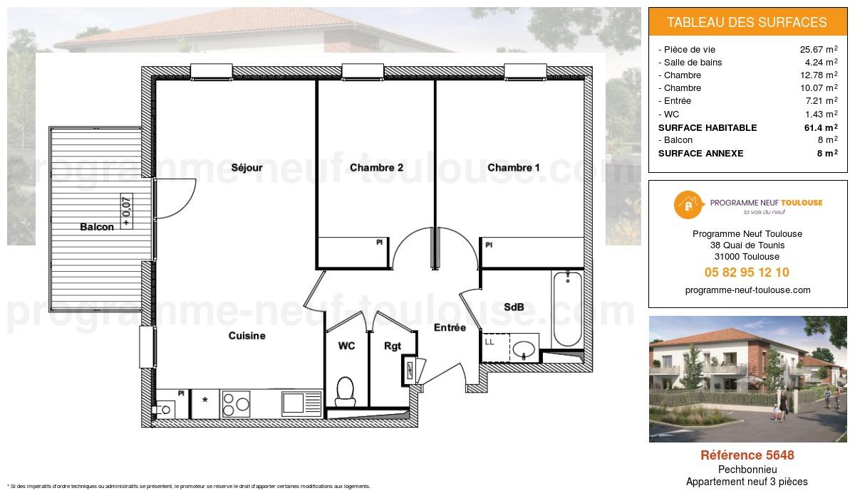 Plan pour un Appartement neuf de  61.4m² à Pechbonnieu
