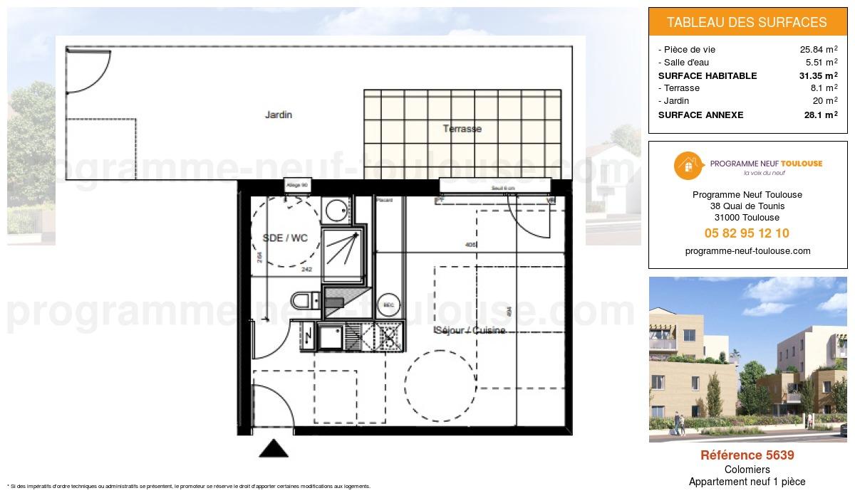 Plan pour un Appartement neuf de  31.35m² à Colomiers
