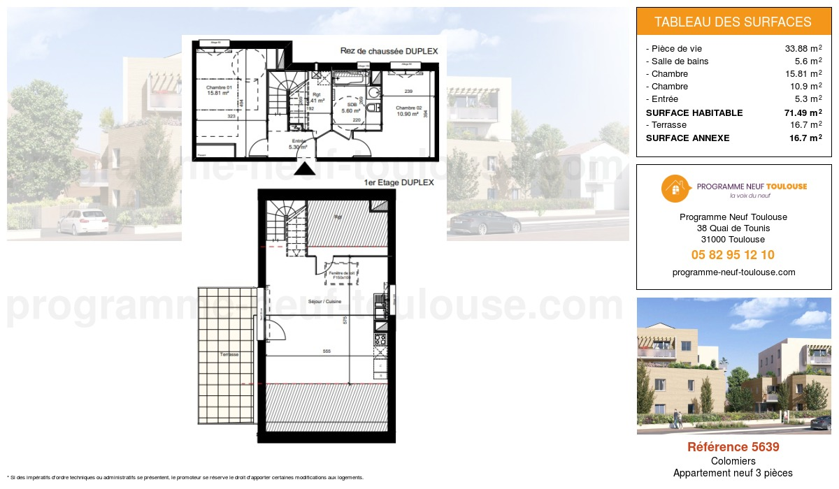 Plan pour un Appartement neuf de  76.9m² à Colomiers