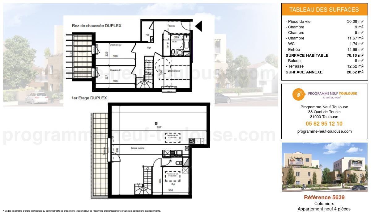 Plan pour un Appartement neuf de  76.18m² à Colomiers