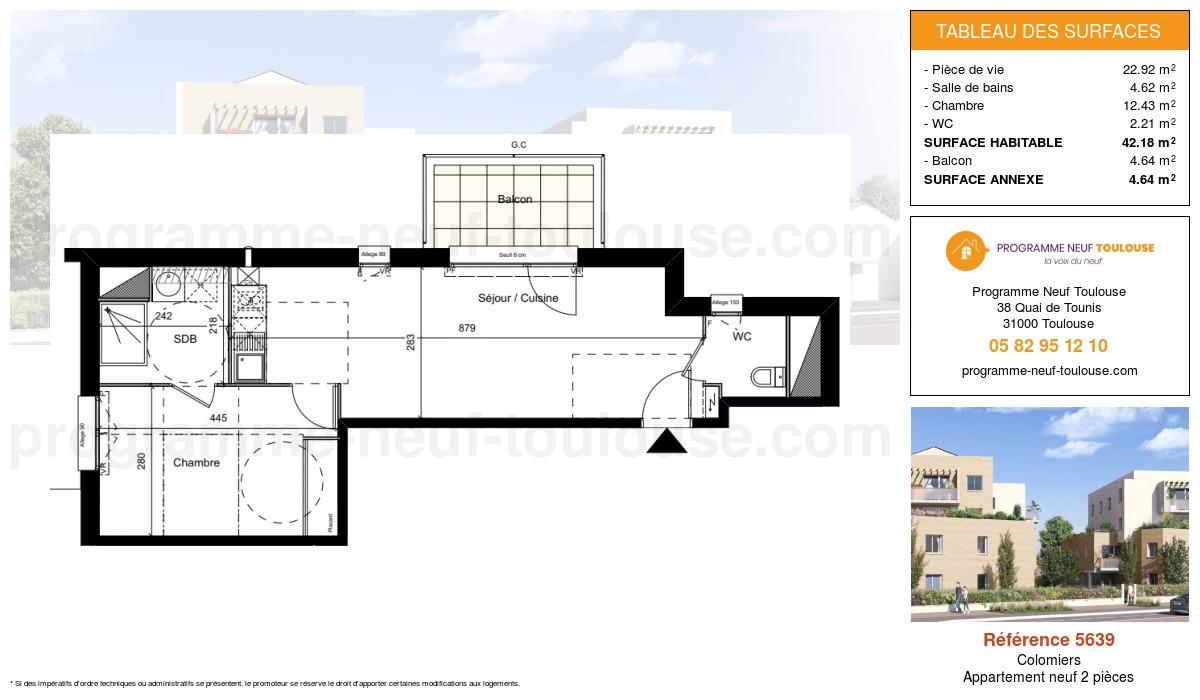 Plan pour un Appartement neuf de  42.18m² à Colomiers