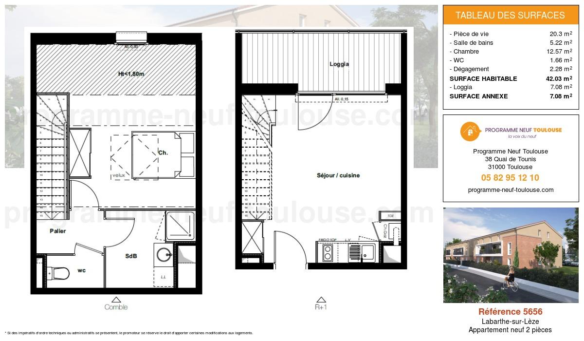 Plan pour un Appartement neuf de  42.03m² à Labarthe-sur-Lèze