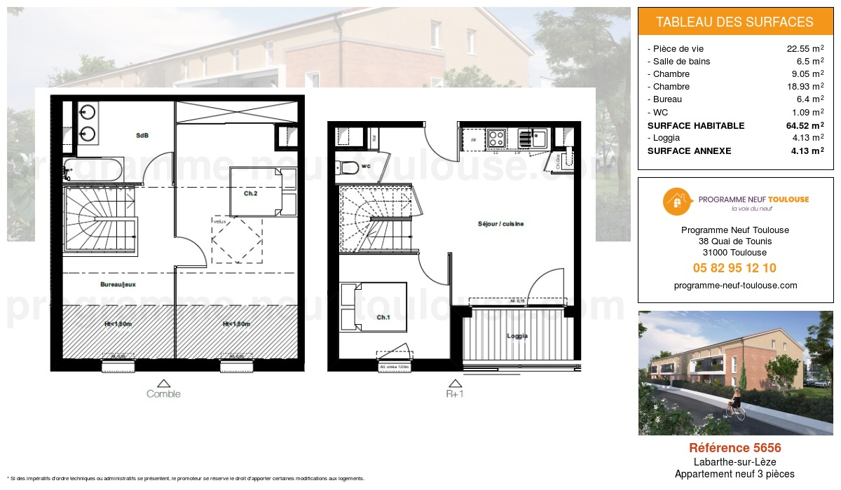 Plan pour un Appartement neuf de  64.52m² à Labarthe-sur-Lèze