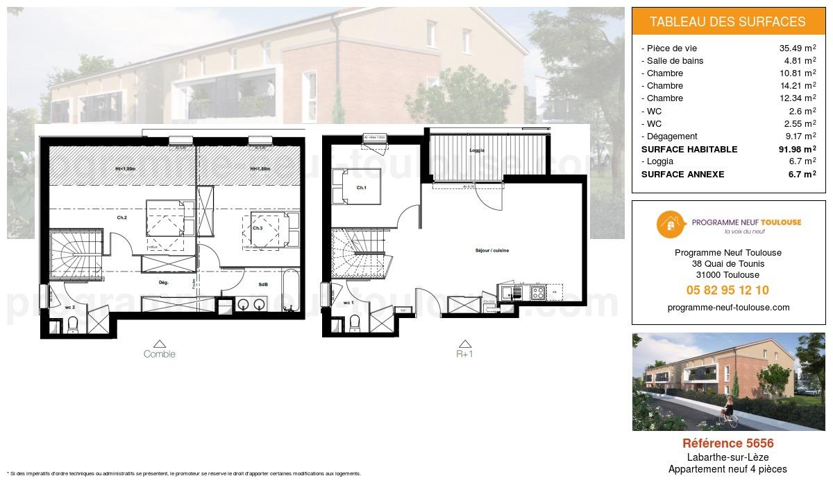 Plan pour un Appartement neuf de  91.98m² à Labarthe-sur-Lèze