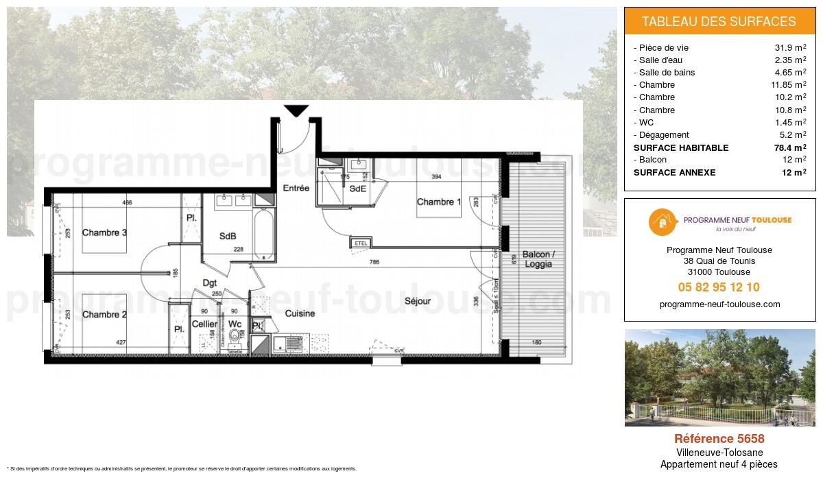 Plan pour un Appartement neuf de  78.4m² à Villeneuve-Tolosane