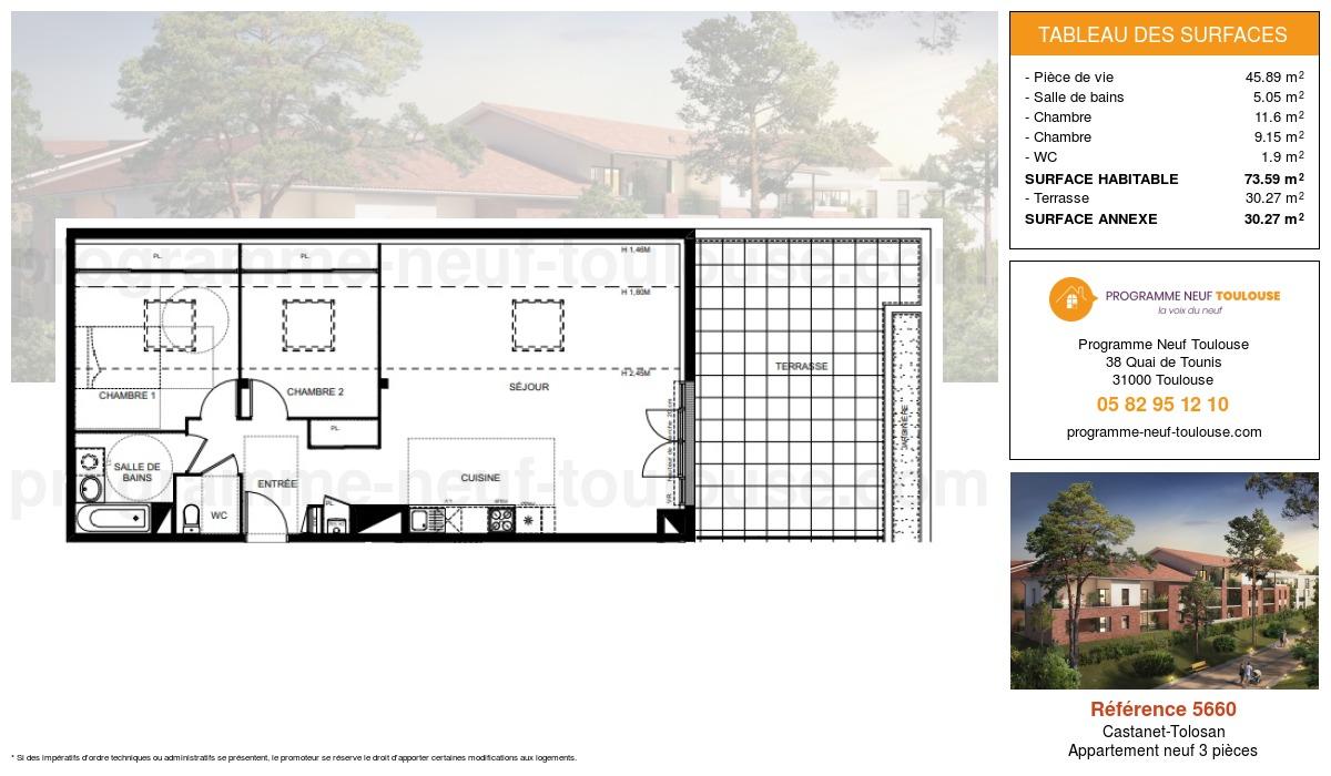 Plan pour un Appartement neuf de  73.59m² à Castanet-Tolosan