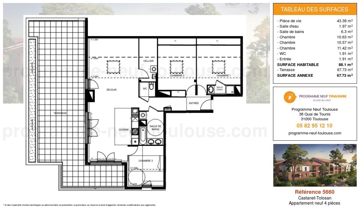 Plan pour un Appartement neuf de  95.04m² à Castanet-Tolosan