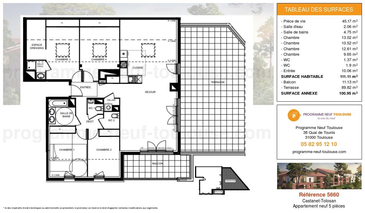 Plan pour un Appartement neuf de  111.11m² à Castanet-Tolosan