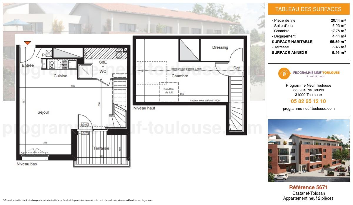 Plan pour un Appartement neuf de  55.59m² à Castanet-Tolosan