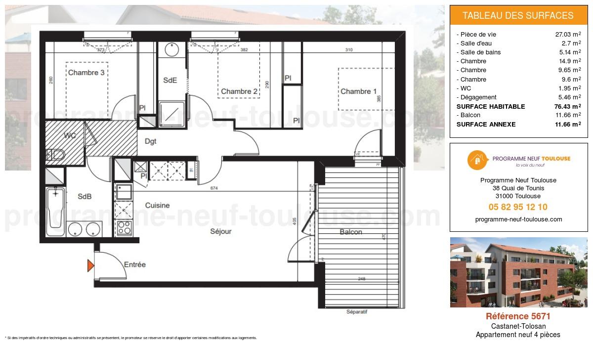 Plan pour un Appartement neuf de  76.43m² à Castanet-Tolosan