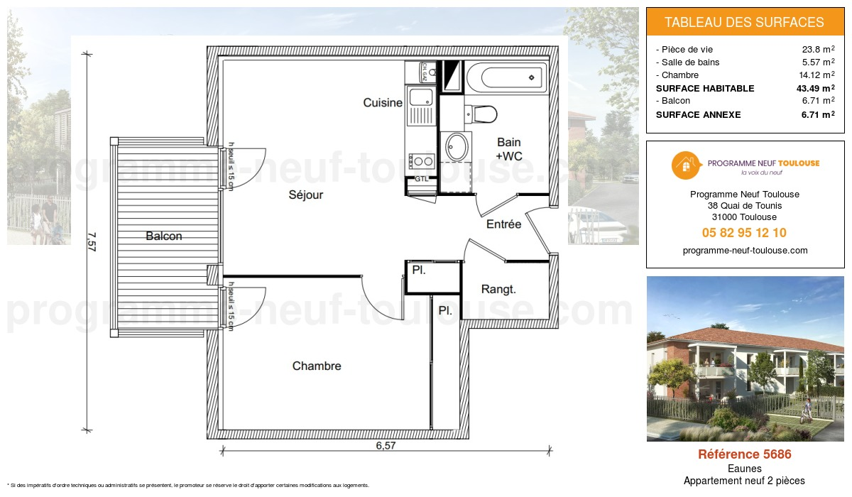 Plan pour un Appartement neuf de  44.49m² à Eaunes