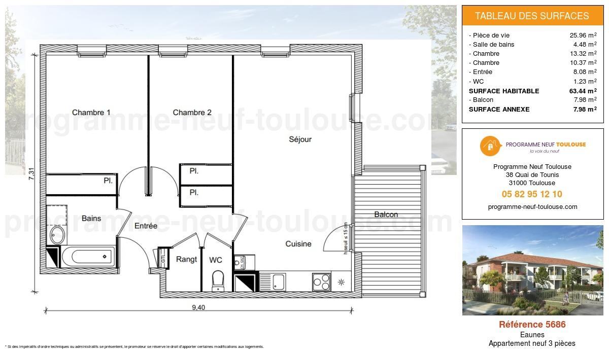 Plan pour un Appartement neuf de  63.44m² à Eaunes