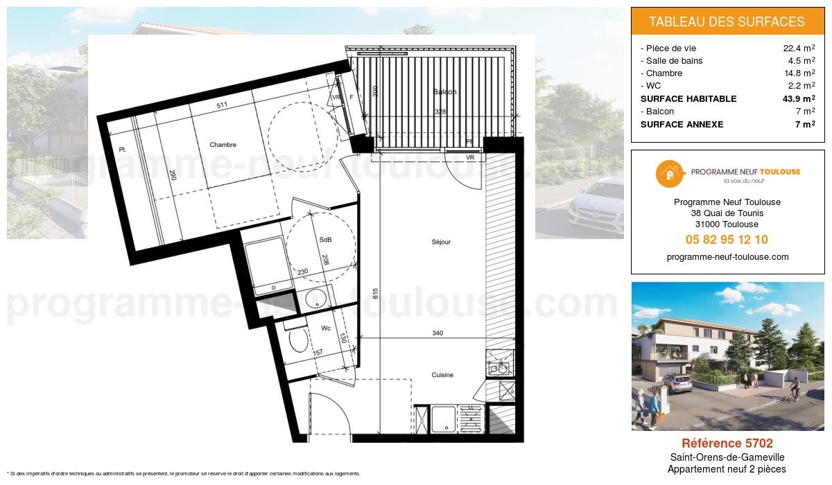 Plan pour un Appartement neuf de  43.9m² à Saint-Orens-de-Gameville