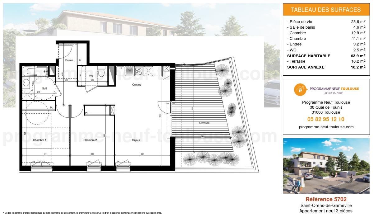 Plan pour un Appartement neuf de  63.9m² à Saint-Orens-de-Gameville