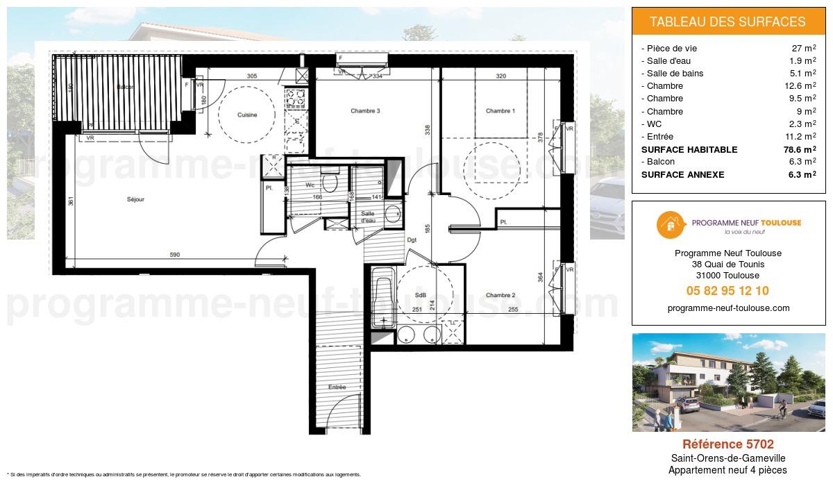 Plan pour un Appartement neuf de  78.6m² à Saint-Orens-de-Gameville