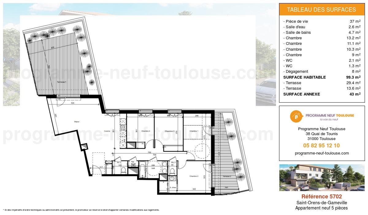 Plan pour un Appartement neuf de  99.3m² à Saint-Orens-de-Gameville
