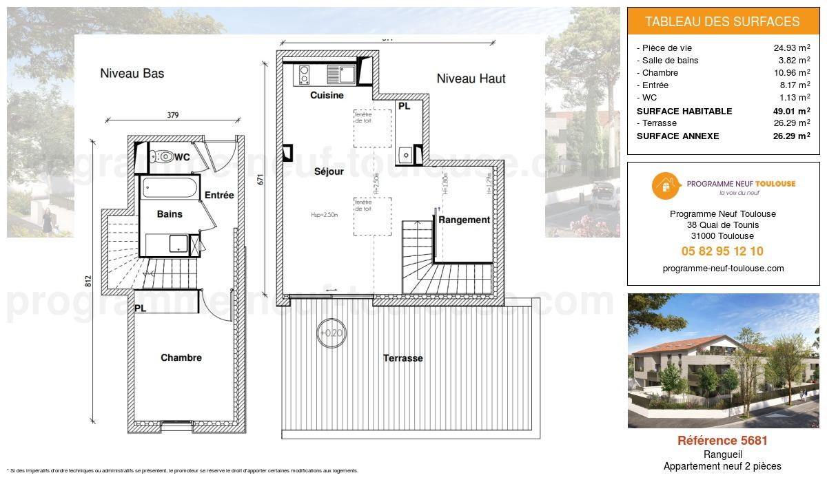 Plan pour un Appartement neuf de  49.01m² à Rangueil