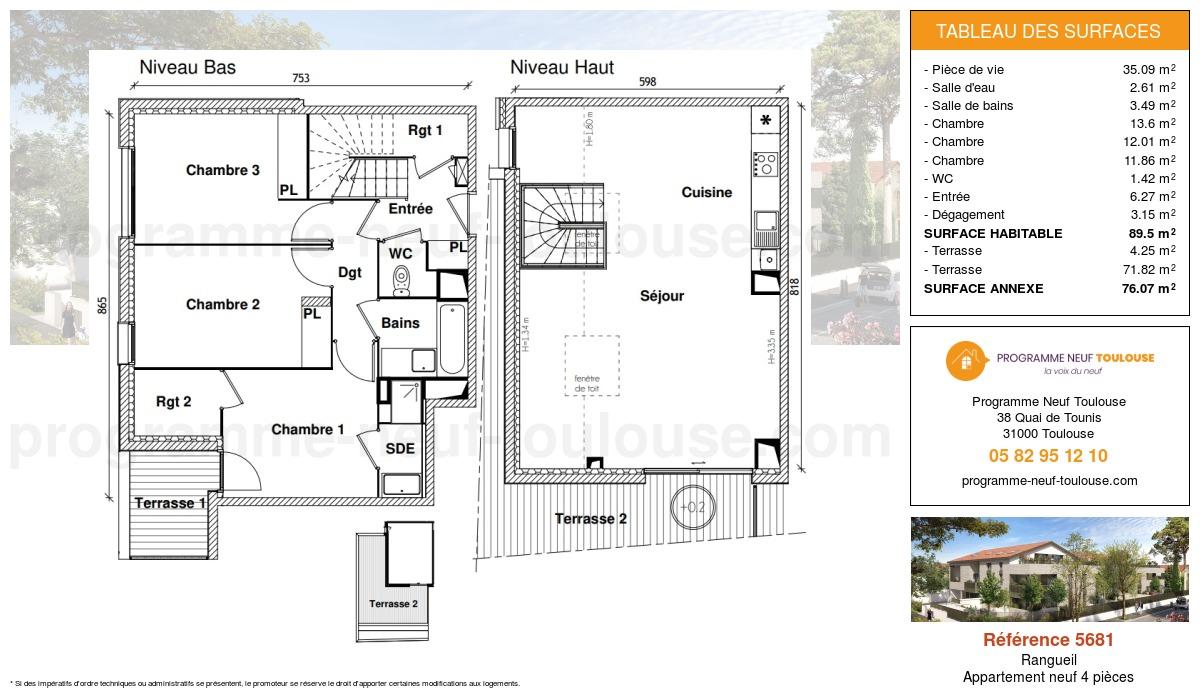 Plan pour un Appartement neuf de  89.5m² à Rangueil