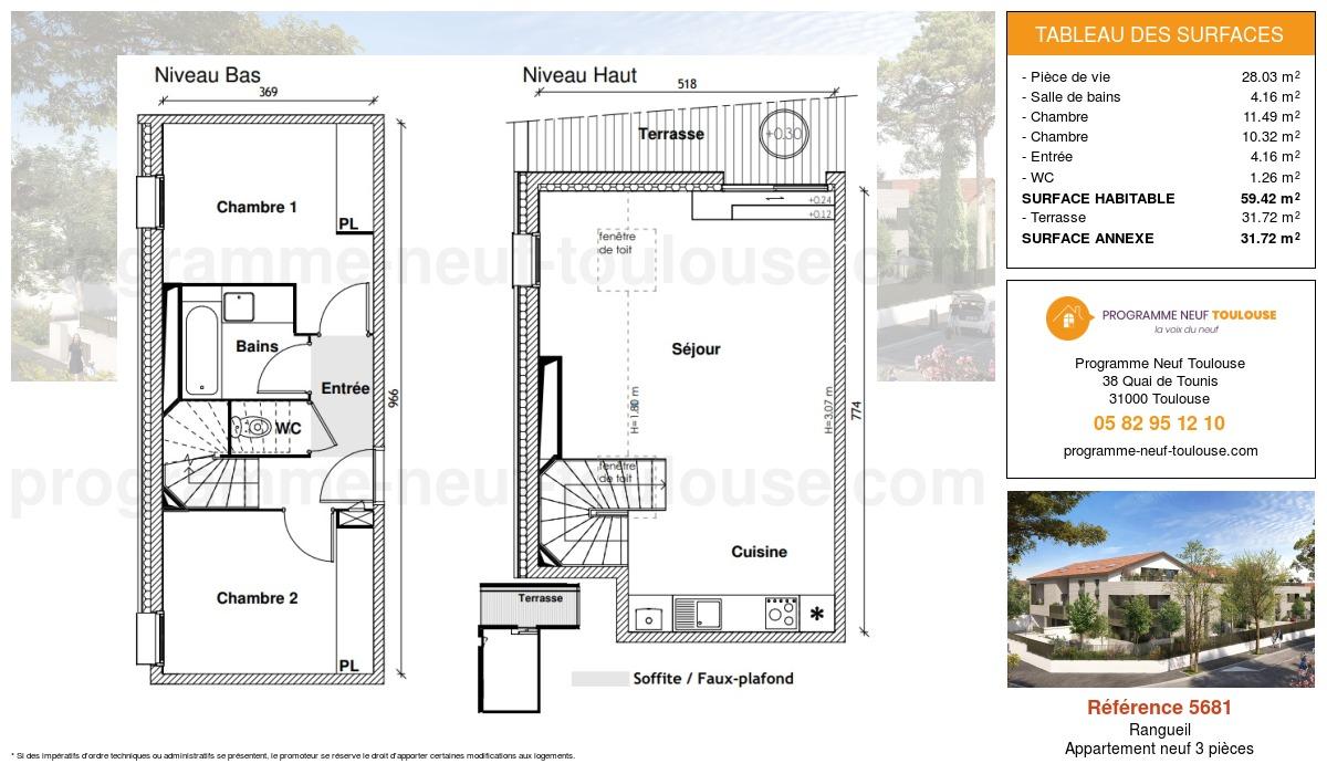 Plan pour un Appartement neuf de  59.42m² à Rangueil