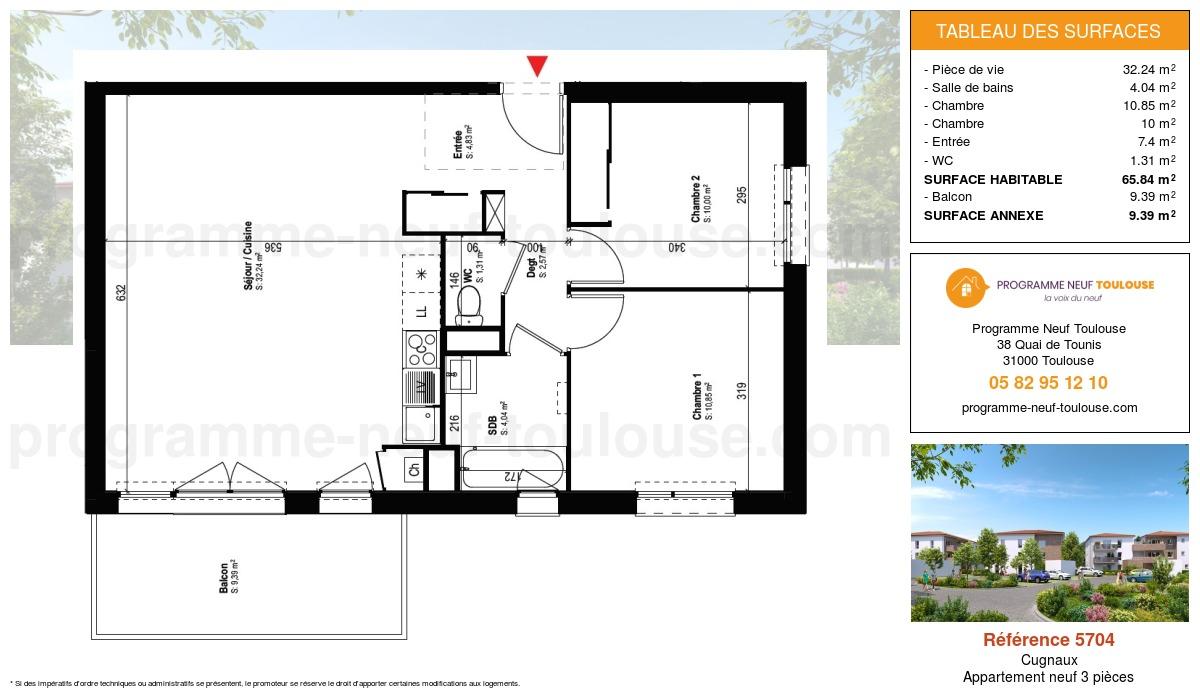 Plan pour un Appartement neuf de  64.84m² à Cugnaux