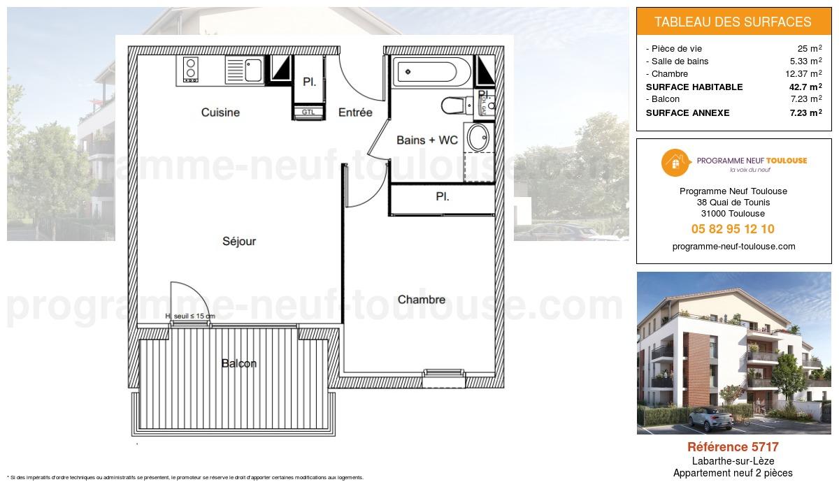 Plan pour un Appartement neuf de  42.7m² à Labarthe-sur-Lèze