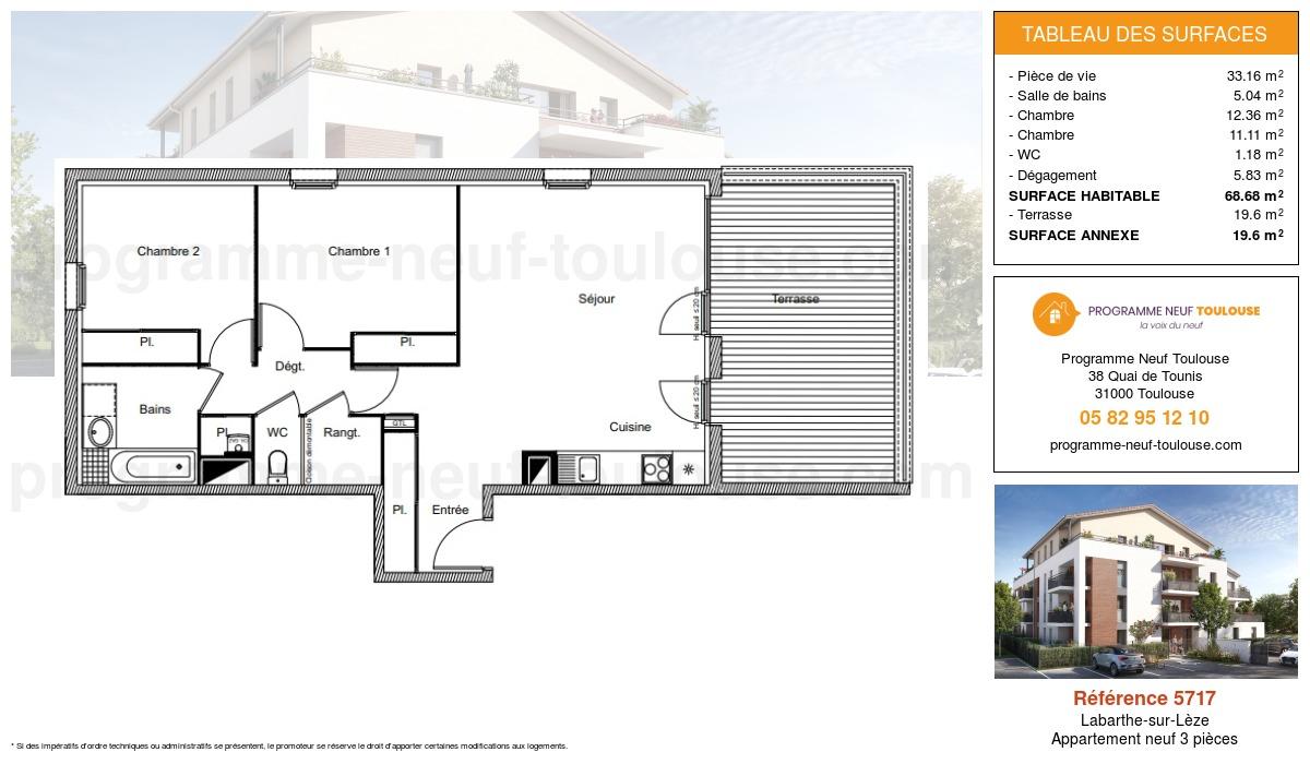 Plan pour un Appartement neuf de  68.68m² à Labarthe-sur-Lèze