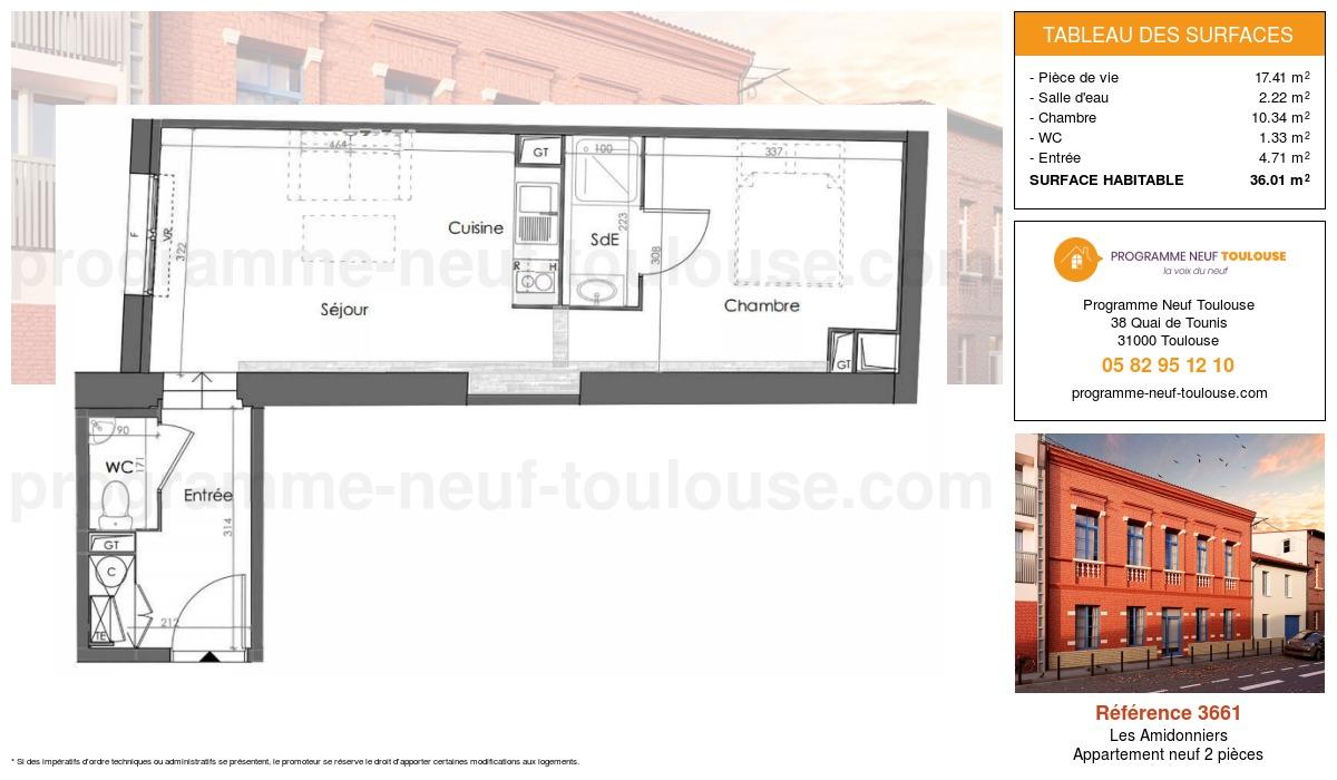 Plan pour un Appartement neuf de  37.01m² à Les Amidonniers
